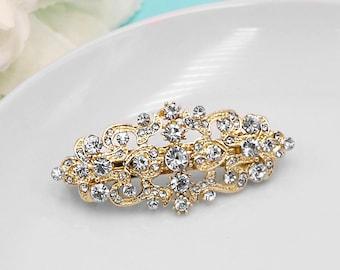 Gold Bridal Rhinestone Barrette, Bridal Comb Crystal, Wedding Crystal Hair Comb, Gold Hair Barette, Bridal Barrette Clip 498929248