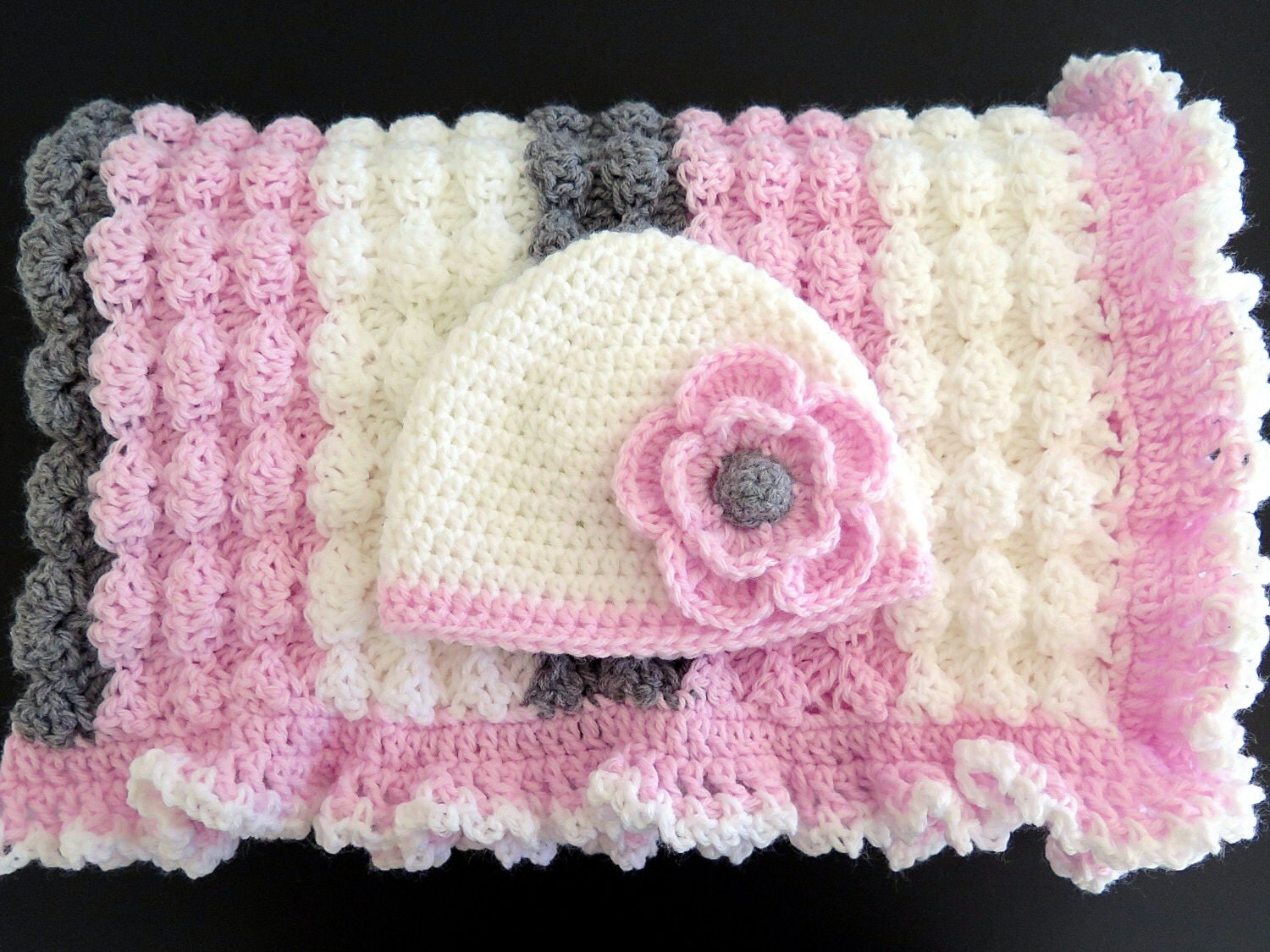 Crochet Pink White Gray Baby Girl Blanket And Hat With Flower