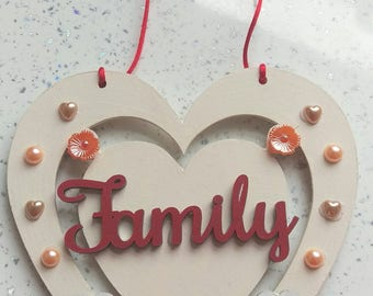 Personalised family hanging plaque