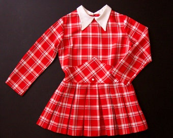 Vintage late 60's long-sleeve girl's mods tartan dress with pleated skirt age 8/9 size 128