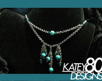 Handmade chain necklace with turquoise colored beads