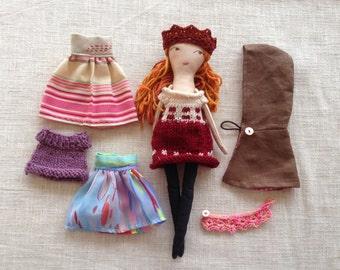 Dress up doll, Handmade cloth doll, doll set,soft doll, dolls to dress, rag doll