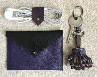 Minimalist Wallet | Envelope Wallet | Leather Card Holder | Slim Wallet | Business Card Holder |Credit Card Holder|Deep Purple/Black Leather
