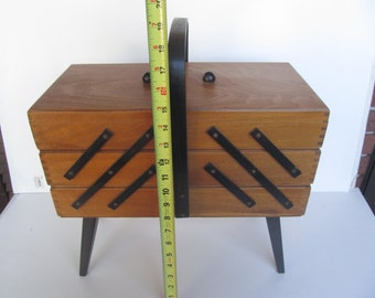 Wood Sewing Storage Case with Contents