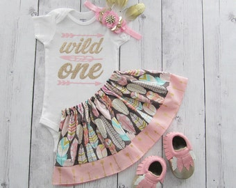 Wild One Birthday Outfit - feather headband, girl first birthday outfit, pink gold, arrow, baby moccasins, tribal