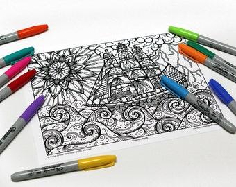 Mandala coloring, drawing #8996 printed on cardboard, coloring of relaxation, boat, ocean