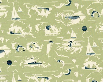 """Premier Prints Fabric-THE BAY-Nautical Print Fabric-Formica Green OR Choice of Color- 54"""" wide-Fabric By The Yard"""