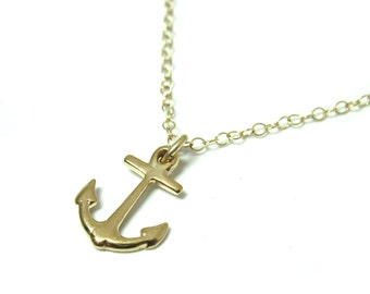 Gold Anchor Necklace - Gold Filled Nautical Necklace -  Layered Necklace - Minimal anchor necklace - nautical jewelry - nautical necklace -