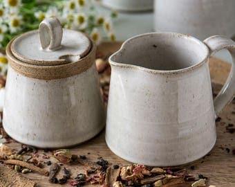Creamer and Sugar, Set of a Pottery Sugar Bowl and a Pitcher, Creamer Sugar Set, Pottery Jug, Ceramic Creamer and Sugar Bowl, MADE TO ORDER