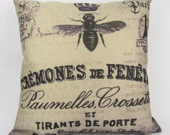Vintage Honey Bee Print - Pillow Cover
