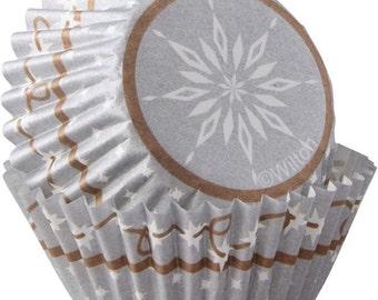 Snowflake Mini Christmas Cupcake Liners Baking Cups Muffin Cups - Wilton Snowflake Mini Cupcake Liners - Christmas Mini Cupcake Liners