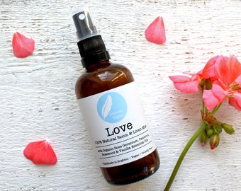 LOVE Aromatherapy Room & Linen Spray with organic Rose Geranium, Rosewood, Patchouli + Vanilla essential oils. 100% natural. 100ml.