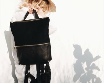 Backpack Black, Leather Backpack, Minimalist Backpack, City Backpack, BOHO BACKPACK