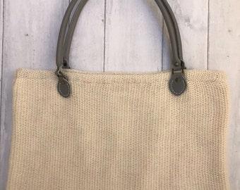 large knitted handbag - Pure merino blend