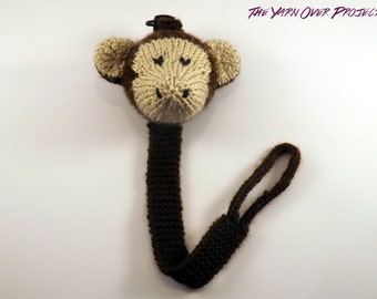 Hand-Knit Monkey Pacifier Clip - Knit Pacifier Leash - Pacifier Clip for Baby - Knit Monkey Toy