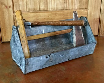 Vintage Handmade Galvanized Metal Industrial Tool Caddy Primitive Garden Farmhouse Country Rustic Decor