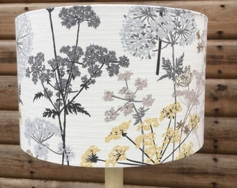 Hedgerow Flora In Greys and Yellow Fabric Covered Lampshade sizes up to 40cm