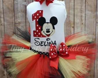 Mickey Mouse Tutu Outfit ~ Mickey Birthday Outfit ~ Includes Top, Tutu & Hair Bow ~ Customize in Any Colors!