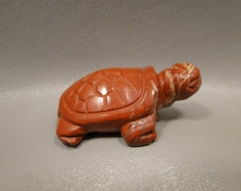 Turtle Carving Red Jasper Small Carved Animal Healing Stone Fetish Gemstone #e1