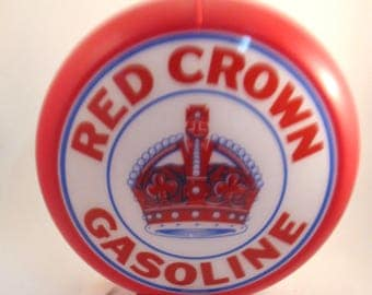 Red Crown Gasoline Globe - Gas Pump Globe Petroliana Dual Sided GasPump Globe