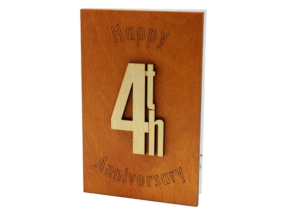 4th Wedding Anniversary Gifts For Husband: 4th 4 4 Years Happy Anniversary Card Original Anniversary