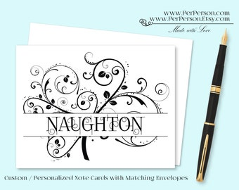 Free Ship!  Set of 12 Personalized / Custom Notecards, Boxed,  Flourish, Scroll, Monocrome, Blank Inside, Initials, Monogram, Name
