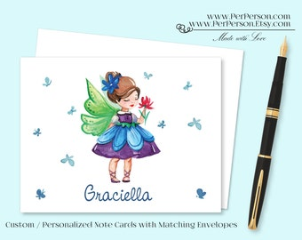 Free Ship!  Set of 12 Personalized / Custom Notecards, Boxed, Blank Inside, Cute, Fairy, Butterflies, Flower, Monogram, Name, Initials