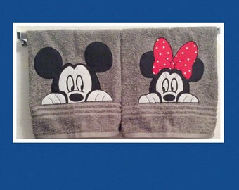 Peekaboo Mickey and Minnie bathroom hand towels.