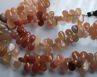 8'' Long Strand, Natural Shaded Peach Moonstone Faceted Pear Briolettes, Size 11-10mm