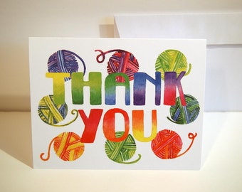 Knitting Thank You Greeting Card. White card stock. 5.5 X 4.25 with white envelope. Gift for knitters. Balls of yarn thank you notes