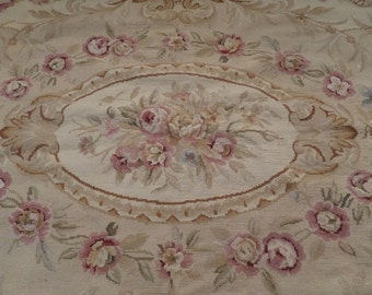 Stunning Vintage Shabby Chic French Aubusson Roses Pastels Neutrals Rug Beautiful Paris Decor