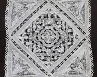 Vintage white square lace doily