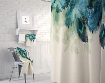 Shower Curtain Peacock Feather floral Optional Bath Mat Set  Bath Towels