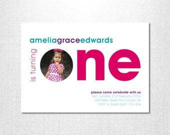 First birthday invitation ~ First birthday girl ~ One ~ Photo invitations ~  Modern Style ~  Elegant First Birthday ~ Personalised