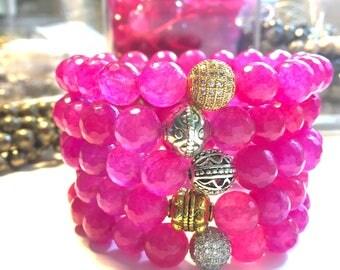 Pink Agate Bracelet- Pink Stone Bracelet- Pink Beaded Bracelet- Stackable Bracelet- Gemstone Bracelet- Graduation Gift- Bridal Shower Favor