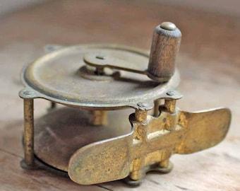 Vintage Brass fishing reel, antique fishing reel, French antique fishing reel