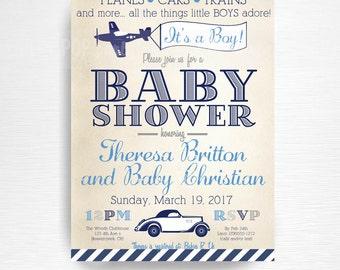 Planes Trains Automobiles Baby Shower Party Printable Invitation YOU Vintage Navy Blue Grey