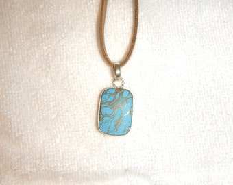 PAY IT FORWARD - Copper Turquoise (Magnesite) pendant necklace set in .925 sterling silver (P127)