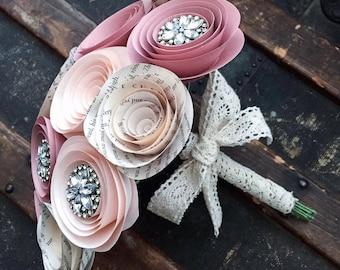 Paper Flower Bouquet - Wedding Bouquet Alternative - Rhinestone Bouquet - Bridal Bouquet - Bridal Flowers - Artificial Bouquet - Brooch