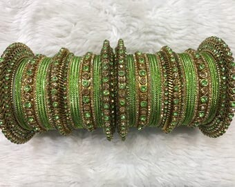 Bridal Bangles, gold bangles, green bangles, indian bangles, pakistani bangles, indian jewelry, pakistani jewelry, indian wedding jewelry