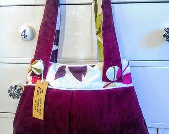 Burgundy corduroy handbag