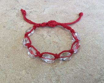 Clear Quartz Red Hemp Macrame Bracelet. Kabbalah. Evil Eye. Good Luck. Hamsa. Adjustable Bracelet. Love Token. CQRHMB
