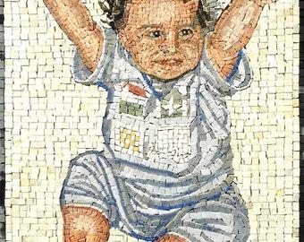 Baby Portrait Custom Made Mosaic Marble