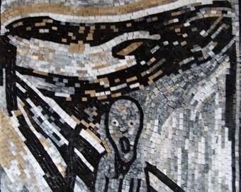 "Edvard Munch ""Scream"" - Black and White Mosaic"