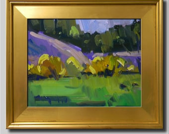 Plein Air Landscape Painting, Impressionist Oil Painting, Landscape, Tree Painting, Green Painting, Yellow Painting, Abstract Painting