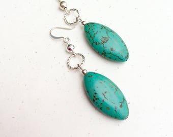 Turquoise Earrings - Turquoise Dangle Earrings - Turquoise Drop Earring - Turquoise Jewelry - Bohemian Earrings - Turquoise Gifts for Women