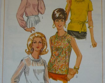 Vintage Sewing pattern. Simplicity 7315. tops pattern. 1967