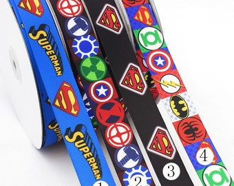 10 Yards Superman Spiderman Batman Avangers  Grosgrain Ribbon - 7/8 inch (22mm) width - Marvel DC Comics Cartoon Animation Ribbons - hs94