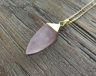 Rose Quartz Point Gold Pendant Necklace/Light pink/Polished Point/Gemstone Necklace