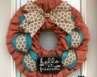 Wreath, Spring Burlap Wreath, Hello Friends Wreath, Coral Chevron Wreath, Burlap Wreath, Summer Wreath, Summer Burlap Wreath, Wreaths,